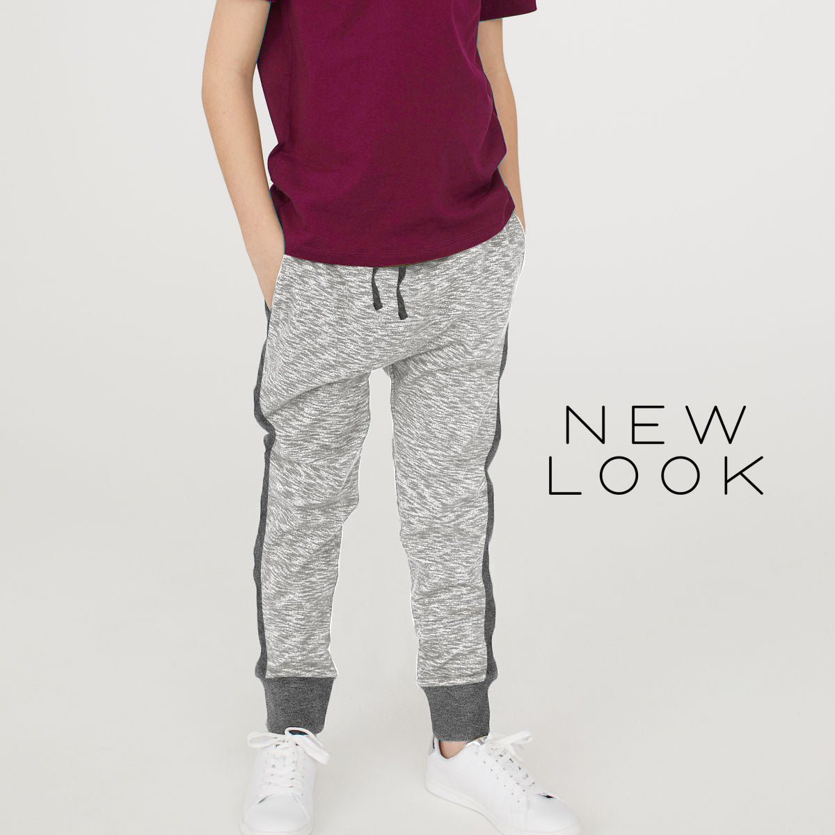 New Look Single Jersey Jogger Trouser For Kids-Gray Melange & Gray-NA1183
