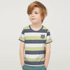 Next Single Jersey Pocket Style Tee Shirt For Kids-Parrot White & Navy Stripe-BE5243