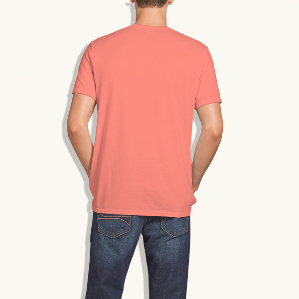 "Men's ""Hollister"" Short Sleeves Fashion Crew Neck With Aplic - Lite Coral (HS712)"