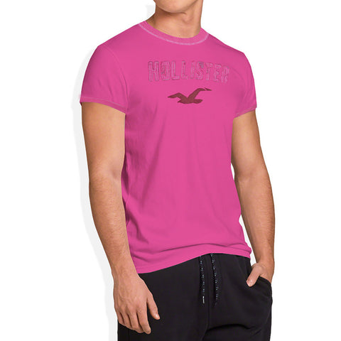 "Men's ""Hollister"" Short Sleeves Fashion Crew Neck With Aplic -Baby Pink (HS715)"
