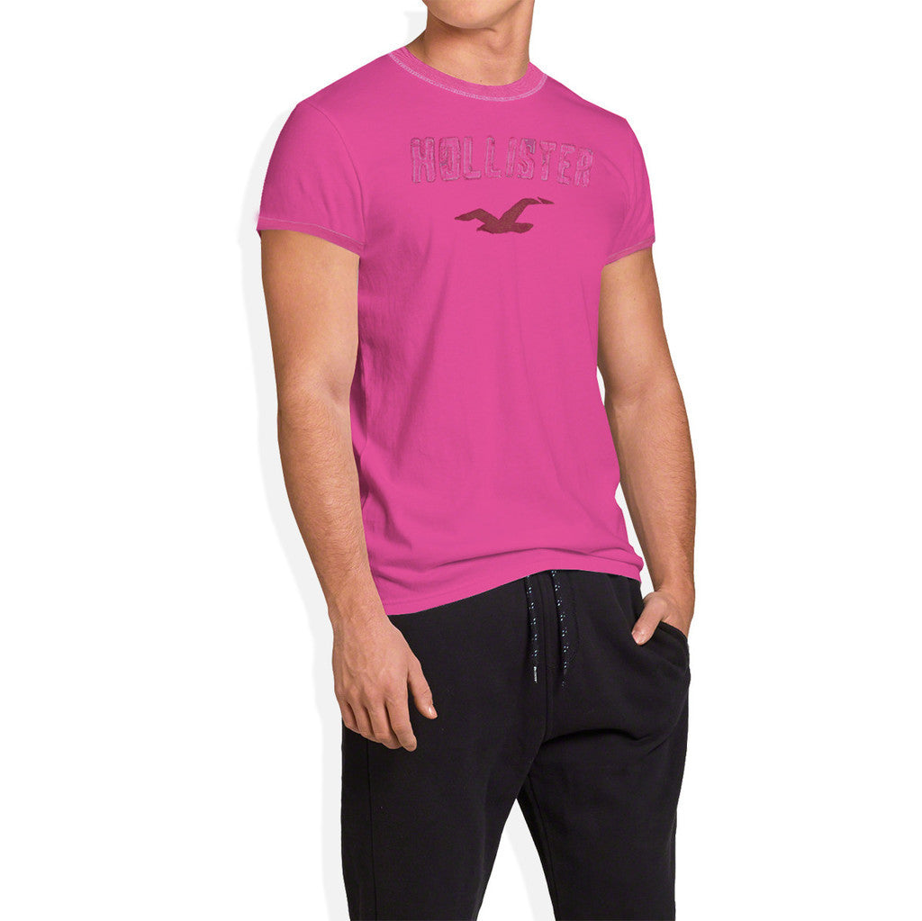 Hollister Single Jersey Short Sleeves Tee Shirt For Men-Pink-SP606