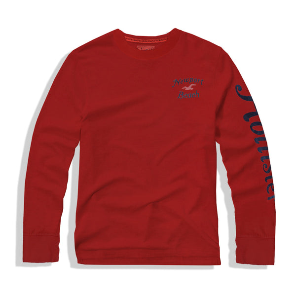 "Men's ""Hollister"" Long Sleeves Fashion Crew Neck - Red-Navy Flock (HS716)"