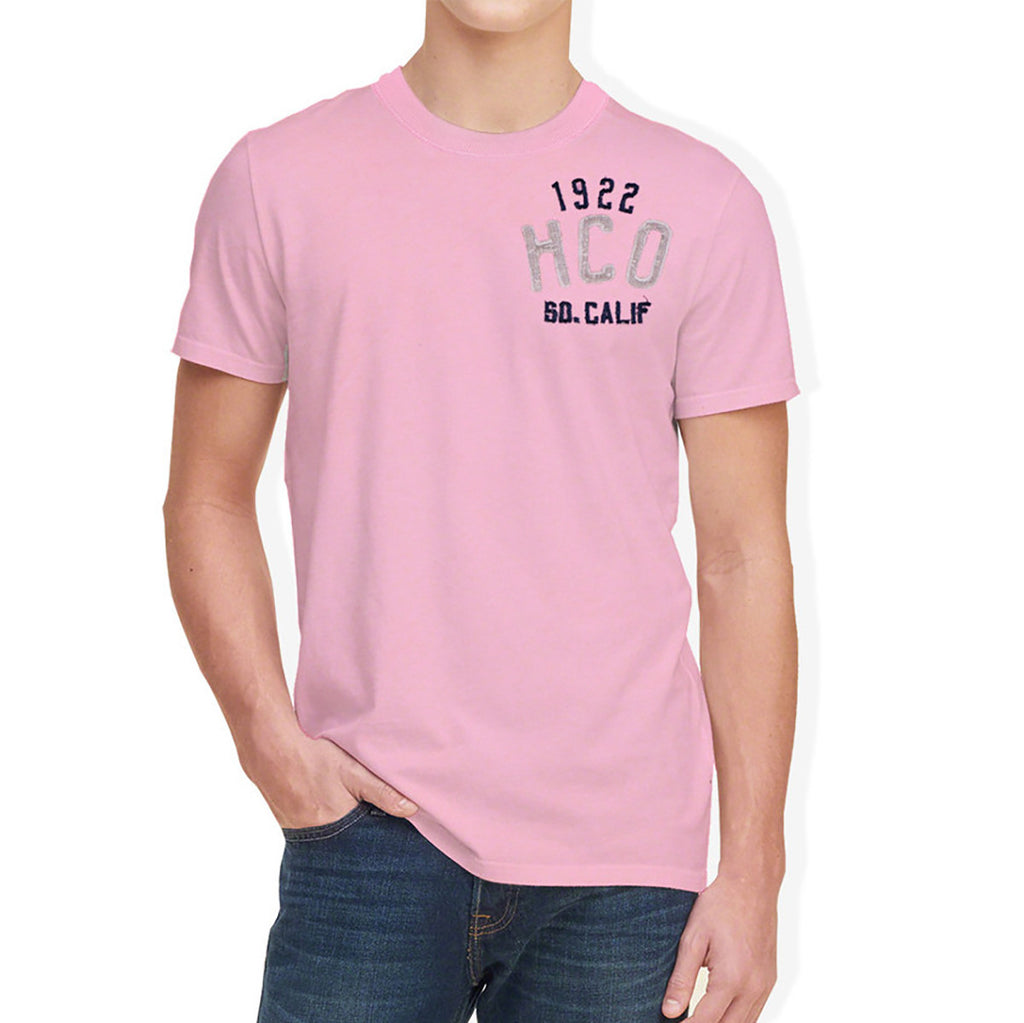 "Men's ""Hollister"" Short Sleeves Fashion Crew Neck With Aplic -Light Pink (HS704)"