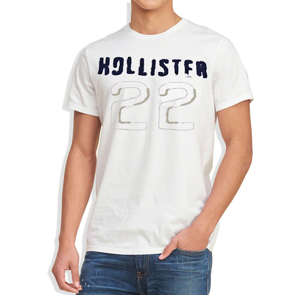 "Men's ""Hollister"" Short Sleeves Fashion Crew Neck With Aplic -White With ""22"" Style (HS705)"