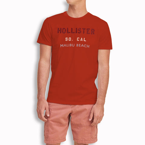 "Men's ""Hollister"" Short Sleeves Fashion Crew Neck With Aplic - D, Orange (HS728)"
