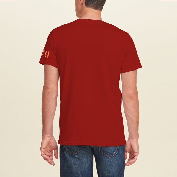 "Men's ""Hollister"" Short Sleeves Fashion Crew Neck Graphic Print - Red (HS723)"