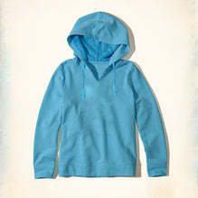 "Ladie's  ""Exist"" Pull Over Hoodie-Blue-BE438"