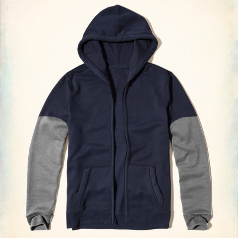 "Kid's Cut Label "" Fat Face "" Zipper Hoodie Contrast-Navy & Gray-KH009"