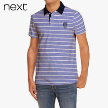 Next Polo Shirt For Men -Blue Striped-BE2161