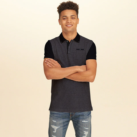 NEXT Polo Shirt For Men Pocket Style -Black & White Printed- BE1028
