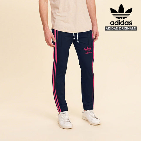 Adidas Cotton Trouser For Men-Dark Navy With Pink Stripes-BE968