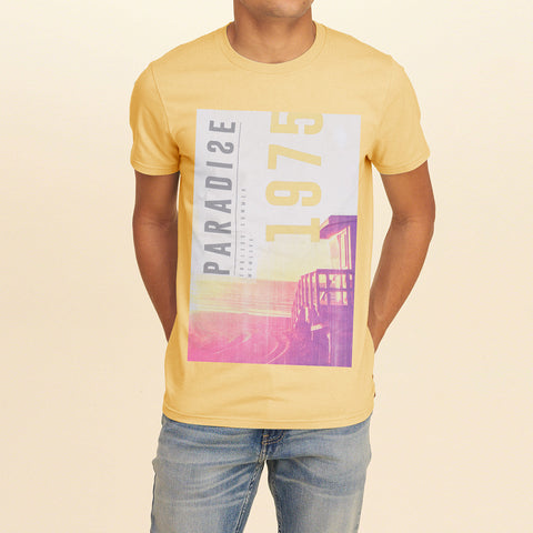 B Quality F&F Crew Neck T Shirt With Printed Logo-Light Yellow-BE1052
