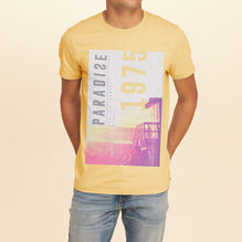F&F Crew Neck T Shirt With Printed Logo-Light Yellow-BE2347