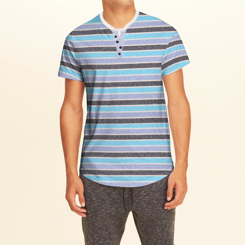 M&S Henley T Shirt For Men -Striped-BE2144
