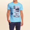 F&F Crew Neck T Shirt With Printed Logo-Sky-BE1050
