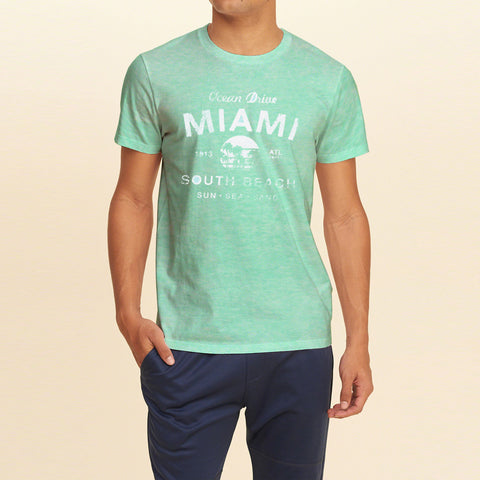F&F Crew Neck T Shirt With Printed Logo-Cyan Green-BE1055