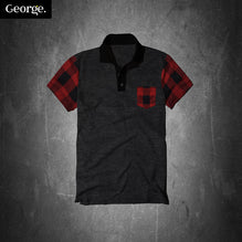 George Polo Shirt For Kid Cut Label-Charcoal & Red-PSK17