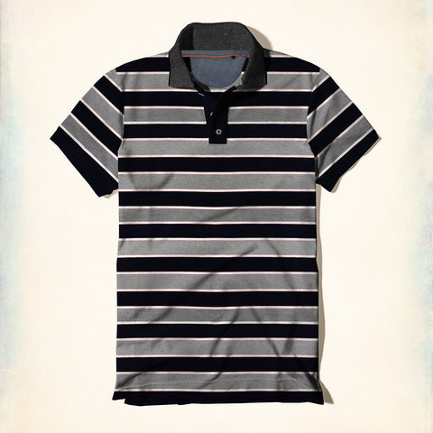 Fat Face Striped Polo Shirt For Men-Gray & Black-BE2022