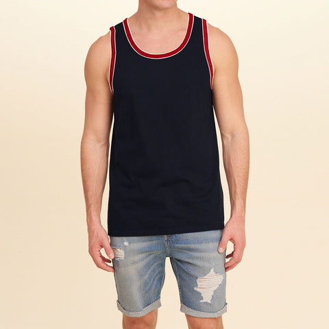 Basic World Sleeve Less Vest For Men-Dark Navy-BE2122