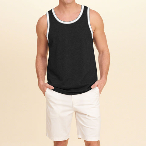 Basic World Sleeve Less Vest For Men-Charcoal-BE2120