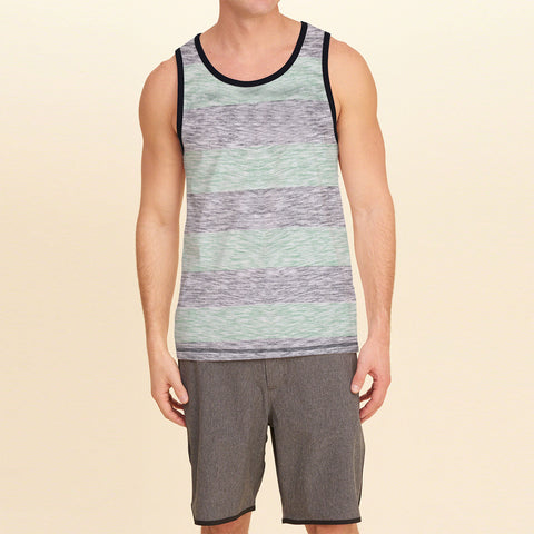 Fassion Boy Sleeve Less T Shirt-Gray & Green Melange-BE8228