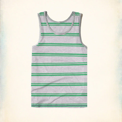 Fassion Boy Sleeve Less T Shirt-Gray & Green Striped-BE830