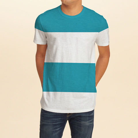ChenOne Half Sleeve Crew Neck T Shirt For Men-White & Sky Blue Stripe-BE2294