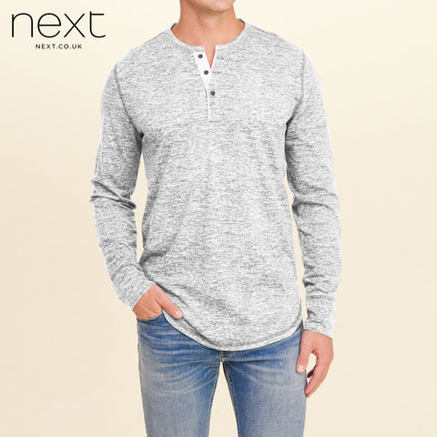 Next Thermal Henley Long Sleeve Shirt For Men-Gray Melange-NA293