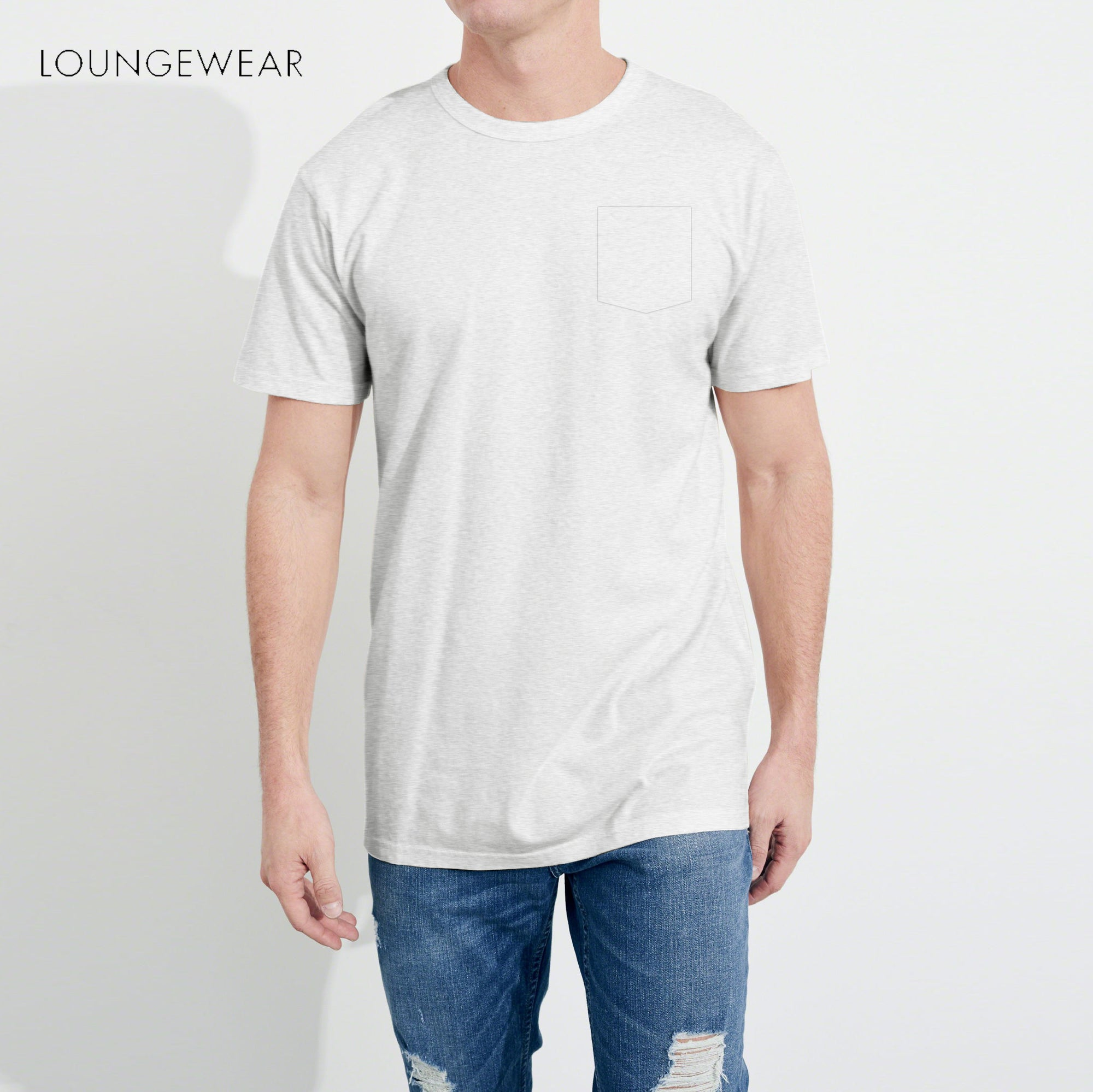 7a4f9503e1bd Lounge wear Crew Neck Tee Shirt For Men-Light Gray-NA1191 - BrandsEgo