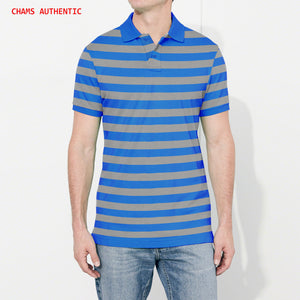 Chams Authentic Single Jersey Polo Shirt For Men-Blue & Grey Stripes-BE4465