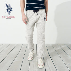U.S Polo Assn Single Jersey Trouser For Men-Off White Melange With Dark Navy Embroidery-NA907