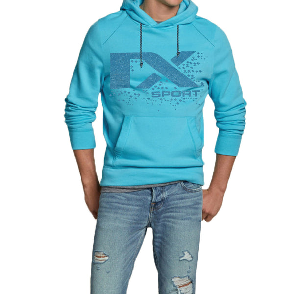 "Men's Cut Label ""Next"" Stylish Pullover Hoodie -Sky-H12"