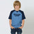 Home State Single Jersey Raglan Sleeve Tee Shirt For Kids-Cyan Melange & Navy-BE5674