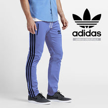 Adidas Cotton Trouser For Men-Bond Blue With Black Stripes-BE2342