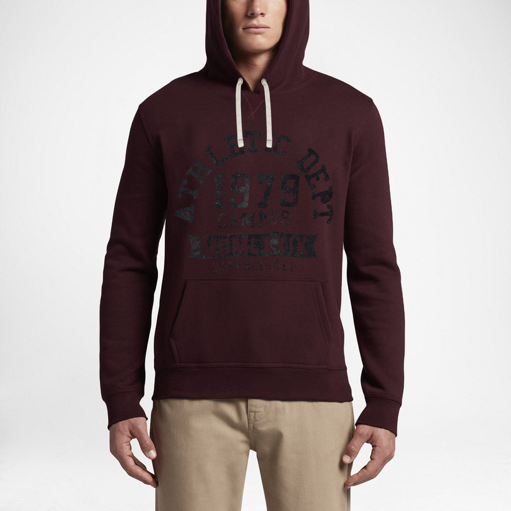 "Men's ""Fat Face""  Pullover Hoodie-Dark Meroon - BE496"