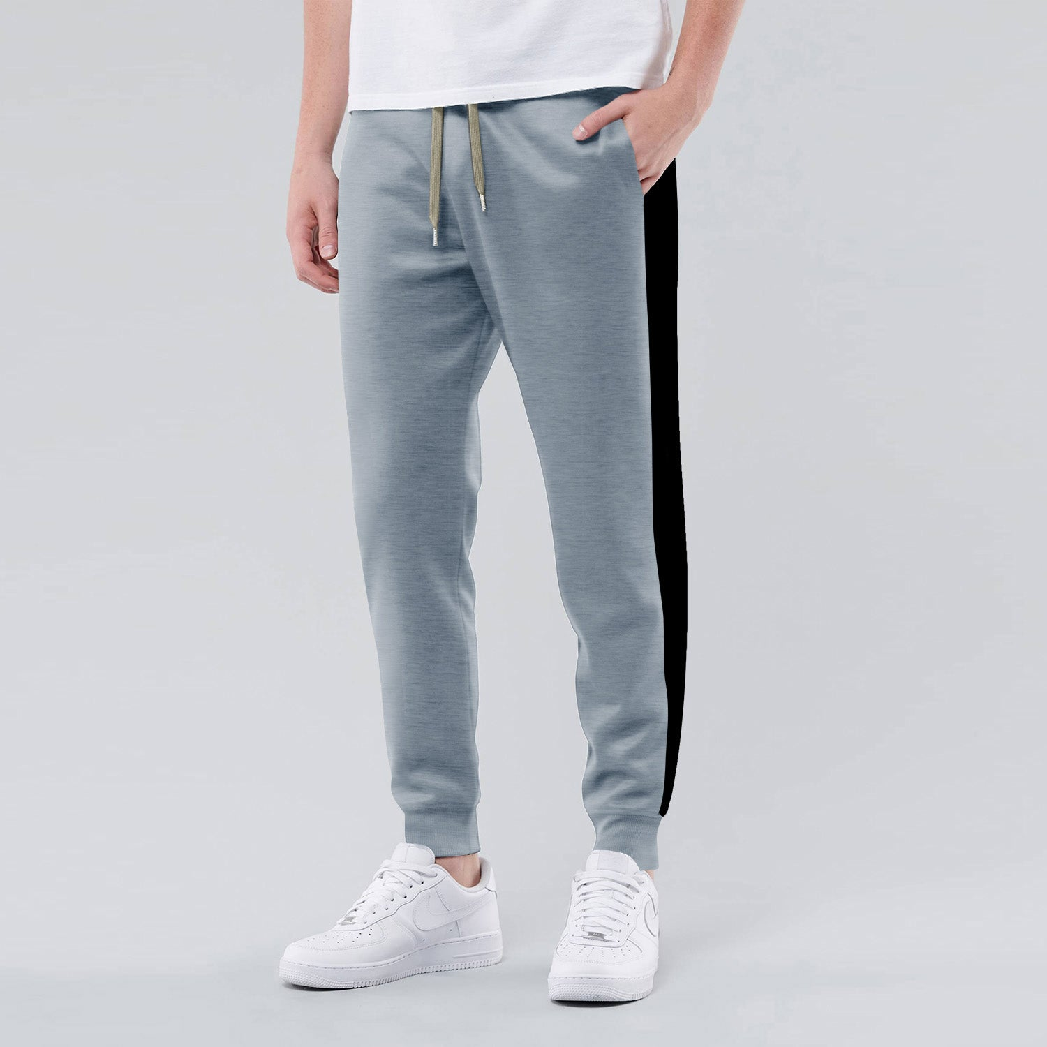 Diesel Summer Slim Fit Panel Trouser For Men-Light Blue Melange & Black Stripe-BE11926