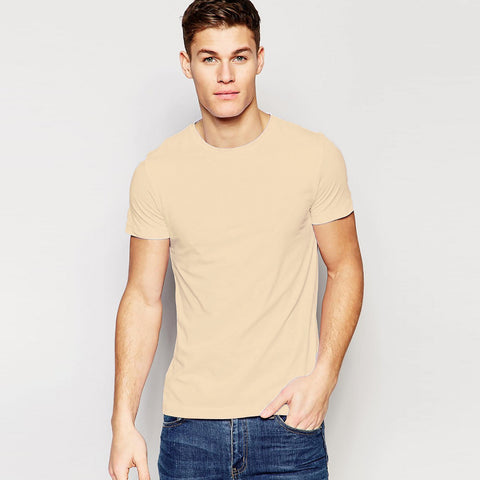 B Quality Boohoo Man Crew Neck T Shirt For Men-Light Camel-BE922