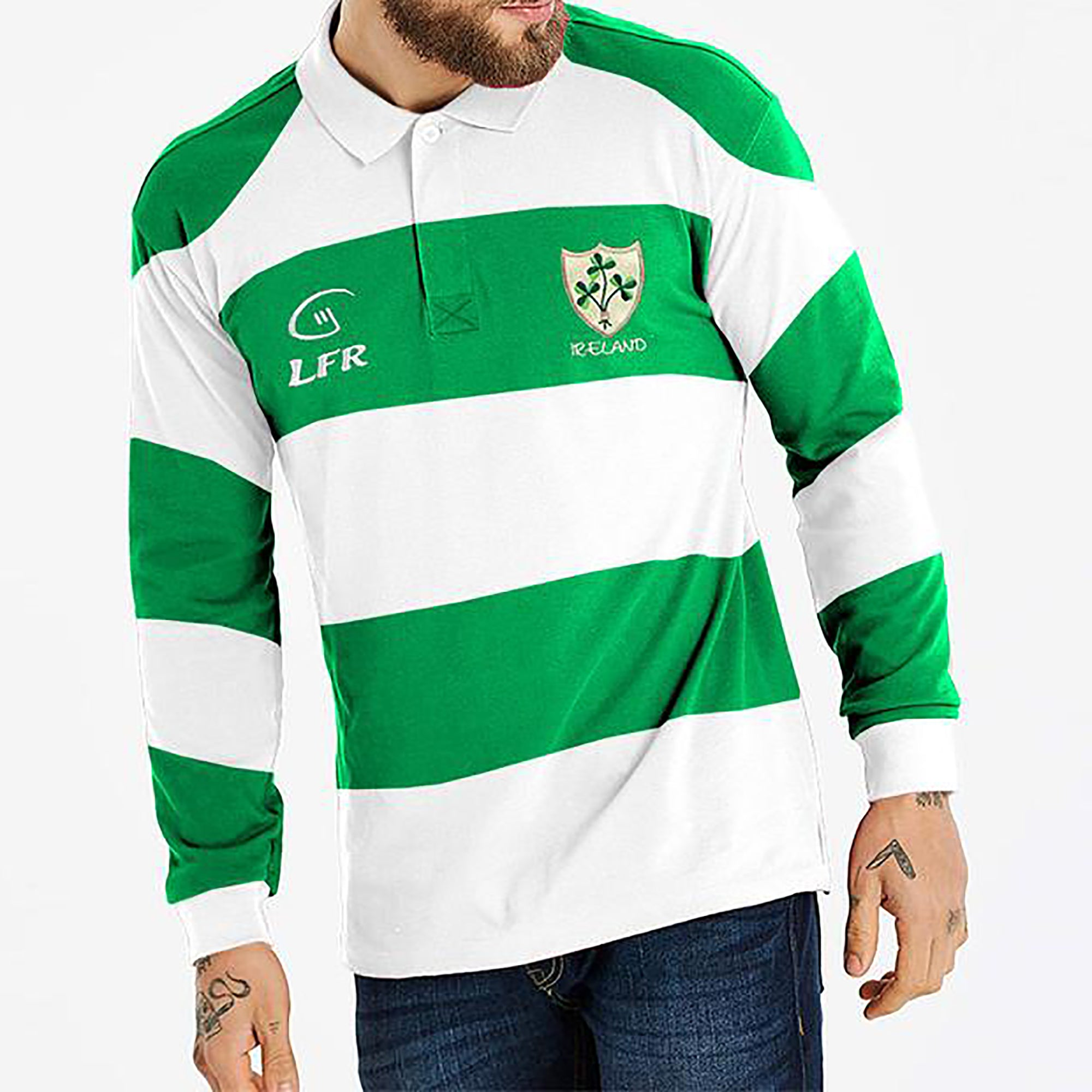 0ada9abc2c5 Ireland Rugby Sport Wear T Shirt For Men-white with Green Stripe-SA0016