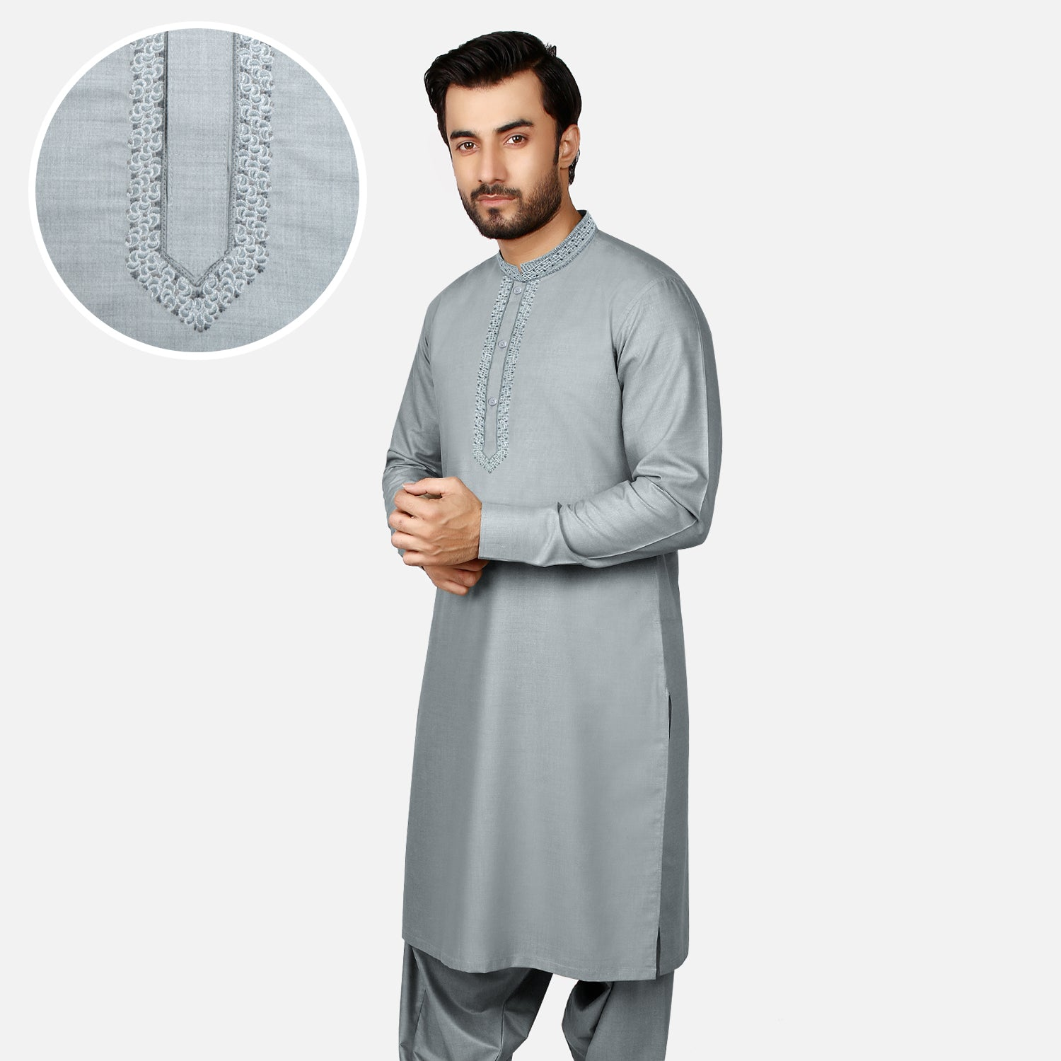 J. Premium Quality Washing Wear Shalwar Kameez Suit For Men-Slate Blue-BE10059