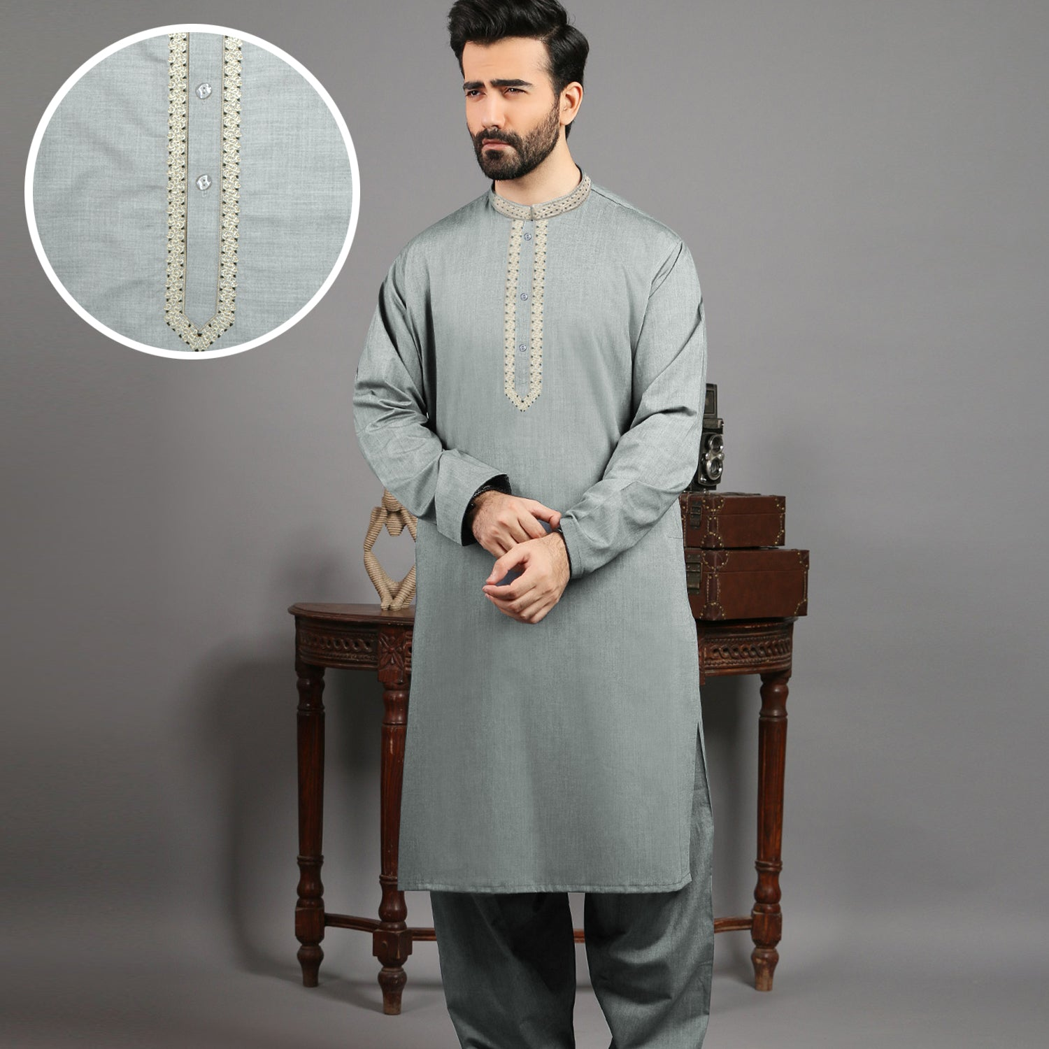 J. Premium Quality Washing Wear Shalwar Kameez Suit For Men-Light Slate Green-BE10061
