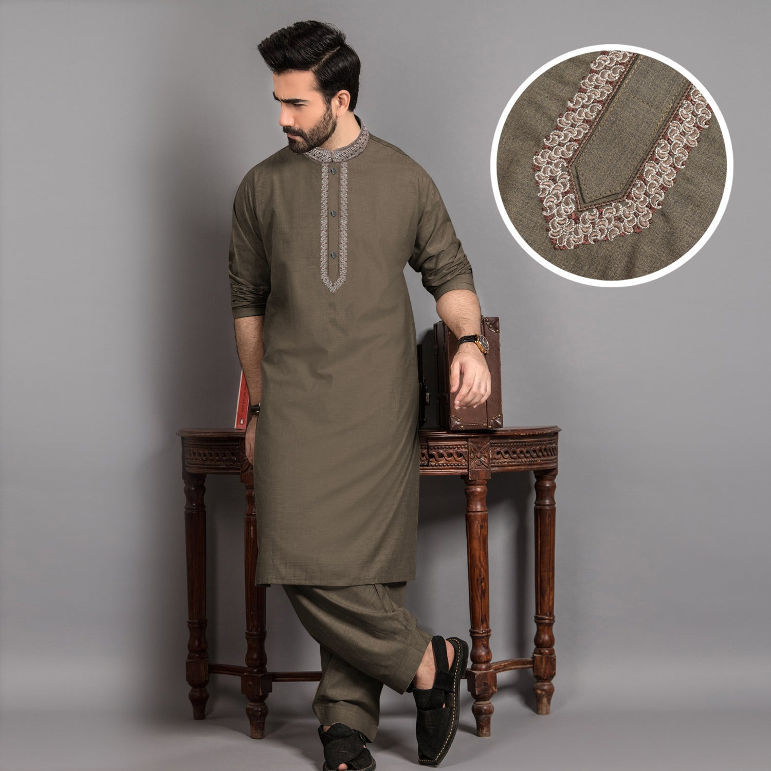 J. Premium Quality Washing Wear Shalwar Kameez Suit For Men-Mehndi-BE10063