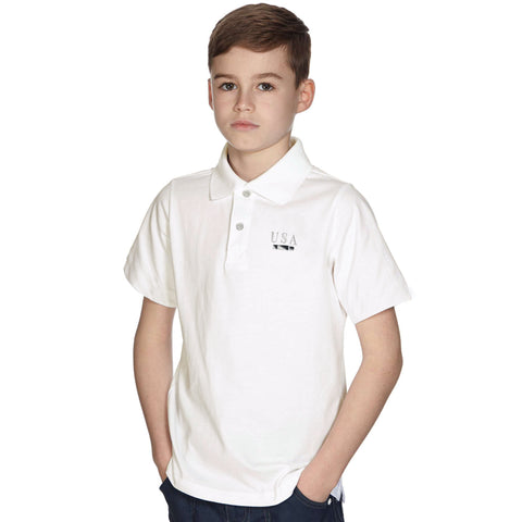 "Kids ""FIF"" Polo Shirt-White Cambric-BE206"