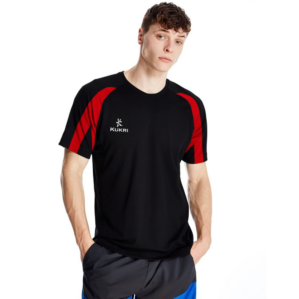 KUKRI Stylish Crew Neck T Shirt For Men- Black & Red -BE1062