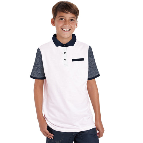 Next Polo Shirt For Kid Cut Label -White & Blue Melange-BE2134