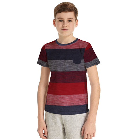 B Quality Next Crew Neck Half Sleeve T Shirt For Kid-Striped-BE2205