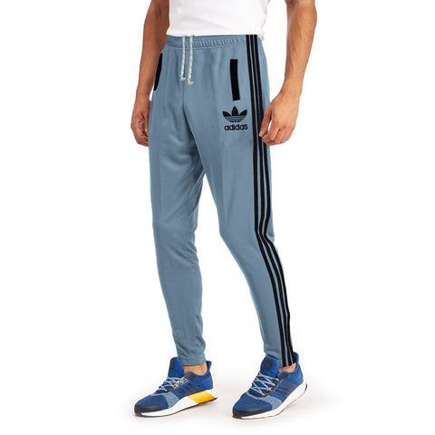Adidas Cotton Trouser For Men-Bond Blue & Dark Black Strpied-BE1081