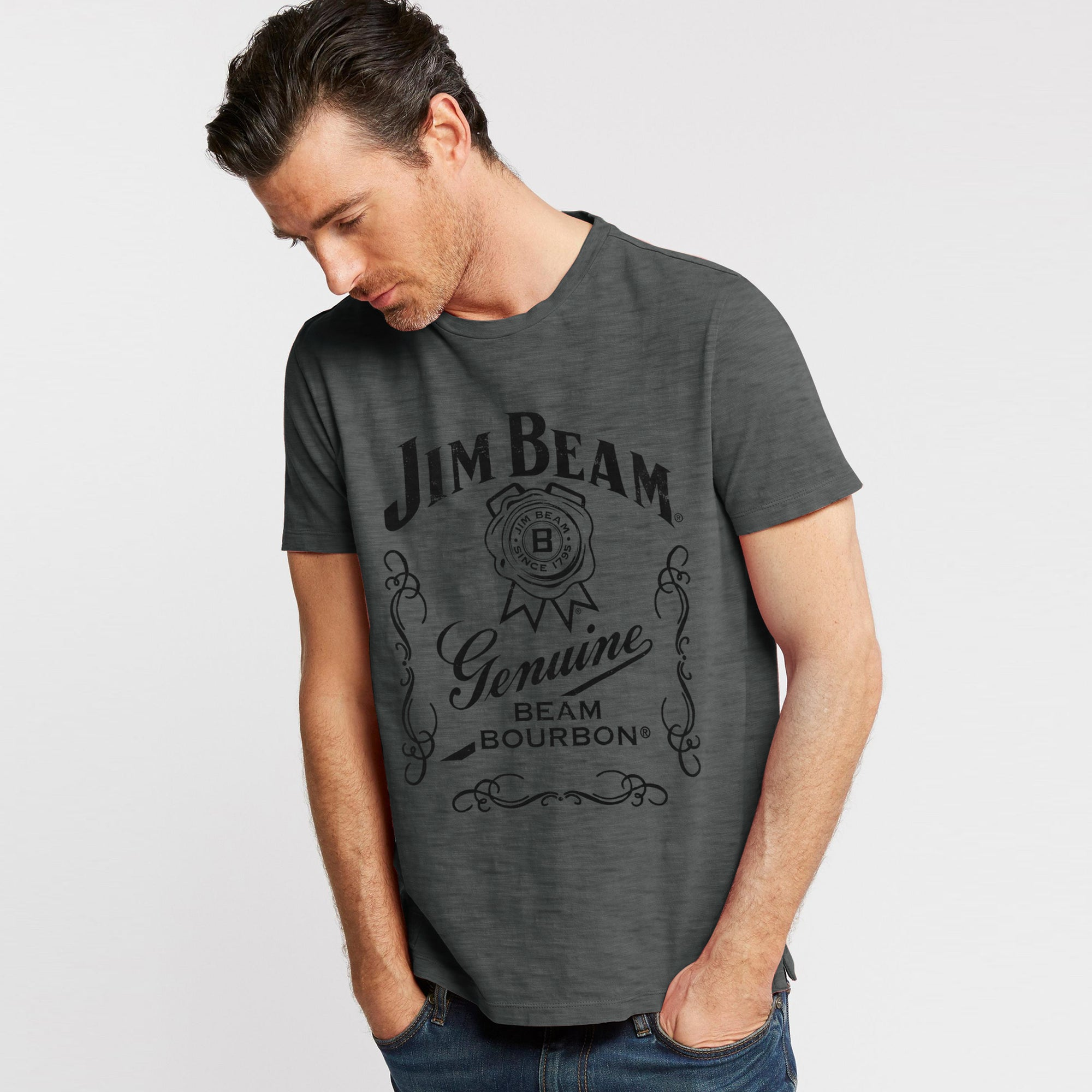 JM Beam Crew Neck Single Jersey Tee Shirt For Men-Dark Grey Melange-BE8340