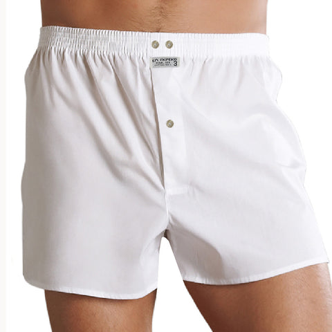"Men's ""EA RKPEKO"" Cotton Boxer Short-White-BE737"