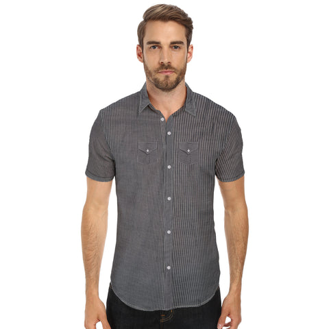 Eyedeology Half Sleeve Casual Shirt For Men with Pockets -Lined Chek-Dark Gray-ECS13