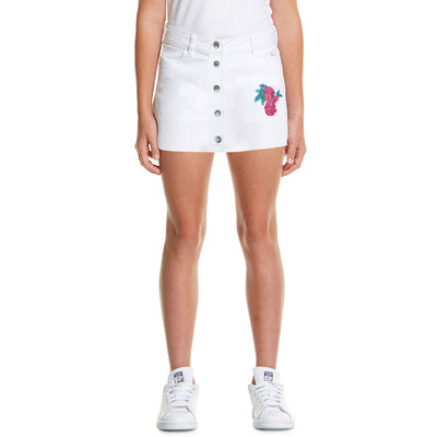 Juniors Denim Skirt For Girls-White-BE7067